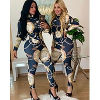 VERSACE Women Floral Print Retro Long Sleeve Jumpsuit