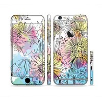 The Colorful WaterColor Floral Sectioned Skin Series for the Apple iPhone 6