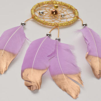Car Mirror Charm Dreamcatcher, Gold Dreamcatcher,  Small Car Dreamcatcher, Car Rear View Mirror Charm,Lavender Feathers.