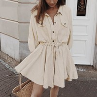 Elegant linen cotton dress women Lantern sleeve short shirt dress high waist Buttons casual office ladies dresses