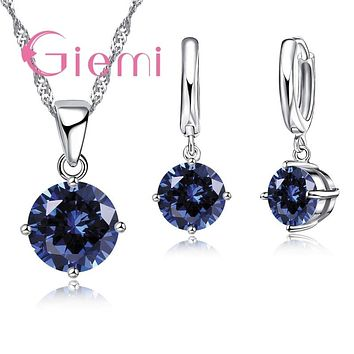 Crystal Pendant Necklace Earrings Set S90 Silver Color Elegant Jewelry Set Women Valentine Gifts