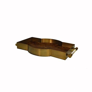 Florence Antique Brass & Radial Horn Tray