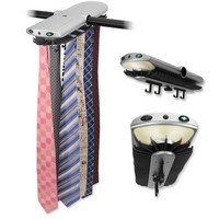 Motorized Tie Rack with Dual LED Lights - Electronic Motor Rotates 70 Ties and 4 Belts for Closet