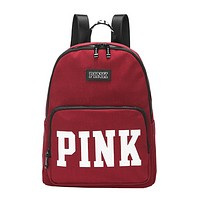 Victoria Pink Fashion New Letter Print Canvas Travel Leisure Backpack Bag Women Red