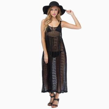 See Through Crochet Lace Hollow Out Beach Sleeveless Vest Dress One Piece Dress