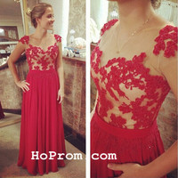 Lace Red Long Prom Dresses Lace Evening Dresses