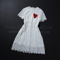 Heart Embroidered Lace Short-Sleeve Dress