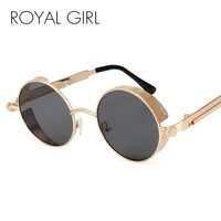 ROYAL GIRL Steampunk  Round Sunglasses Men Coating Mirrored  Retro Vintage Sun Glasses Women Unisex Oculos Gafas UV400 ss418