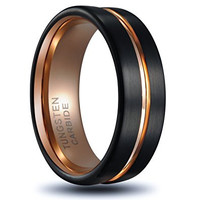 8mm Tungsten Ring Rose Gold Plated Inlay Groove Brushed Flat Cut Edge Men's Wedding Band