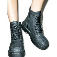 DRAGON SCALE EMBOSSED COMBAT BOOTS