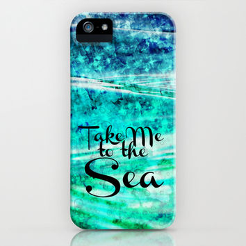 TAKE ME TO THE SEA - Typography Teal Turquoise Blue Green Underwater Adventure Ocean Waves Bubbles iPhone & iPod Case by EbiEmporium