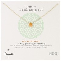 "Dogeared ""Lasting Healing Gems"" Red Aventurine Pendant Necklace"