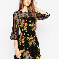 ASOS Skater Dress With Lace Insert with Floral Print at asos.com