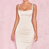 Clothing : Bodycon Dresses : 'Camilla' Champagne Satin Dress with Hand Sewn Crystals - Limited Edition
