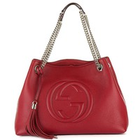 Gucci Womens Soho Leather Chain Straps Shoulder Handbag