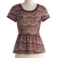Que Sara Sara Top in Burgundy | Mod Retro Vintage Short Sleeve Shirts | ModCloth.com