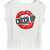 Copy of Cheer Up Graphic Print White Crop Top with Fringed Hemline