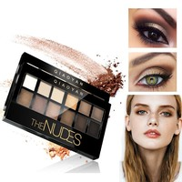 12 Colors Nude Eyeshadoe Palette Earth Tone Brown Shimmer Matt Eye Shadow Pigment with Brush Mineral Smokey Eye Makeup Kit