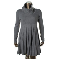 Calvin Klein Womens Ribbed Knit Funnel Neck Sweaterdress