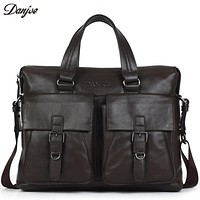 Male Handbags Genuine Leather Men Business Briefcase Classic Business Travel Bag For Men Cowskin 14inch Laptop Briefcase