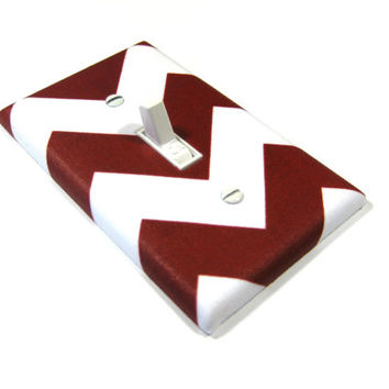 Burgundy Red and White Chevron Decor Light Switch Cover Oxblood Crimson Maroon Print Pattern