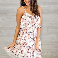 * Prisha Spaghetti Strap Floral Dress - Pink and Ivory