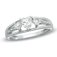 Heart-Shaped White Topaz and Diamond Accent Three Stone Promise Ring in 10K White Gold