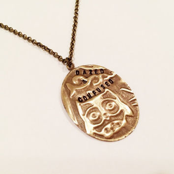 "Led Zeppelin ""Dazed & Confused"" Owl Necklace, Hand Stamped Vintaj"