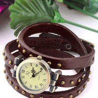 ROMWE | Antique Faux Fur Studded Watch, The Latest Street Fashion