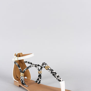 Qupid Buckle Two Tone Strappy Gladiator Flat Sandal