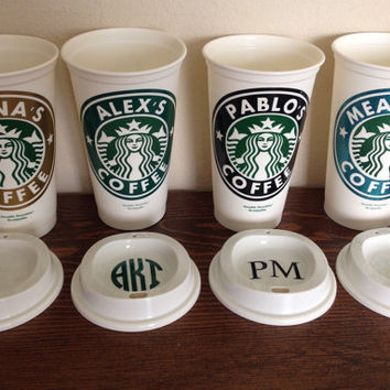 Starbucks Personalized Coffee Cup, Reusable Starbucks Cup, BPA Free Coffee Cup, Starbucks Tumbler with FREE Monogram Lid