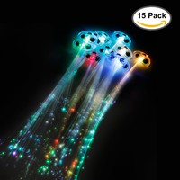 Etekcity 15 Pack LED Fiber Optic Lights up Flashing Hair Barrettes Party Supplies (Assorted Colors)