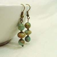 Sale - Impression Jasper Earrings in Blue, Brown on Antiqued Brass Ear Wires, Holiday Gift