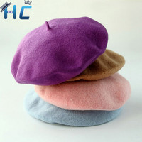 2016 Fashion Solid Color Warm Wool Winter Women Girl Beret Hat French Artist Beanie Hat Ski Cap For Female