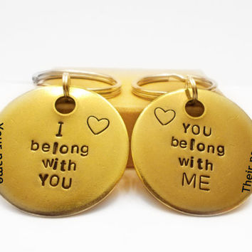 His and Hers Keychains I BELONG WITH YOU Couples gift ideas - Anniversary Christmas