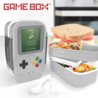 GameBox 2-Tier Bento Lunch Box with Removable Divider, Spoon, Fork ...