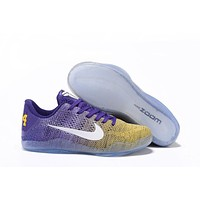 Nike Zoom Kobe Bryant 11 Braided Surface Yellow /Purple Basketball Shoes