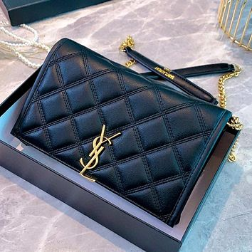 YSL becky diamond checked women's chain bag shoulder bag