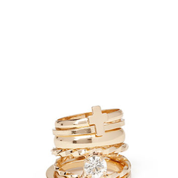 FOREVER 21 Treasured Midi Ring Set Gold/Clear 4