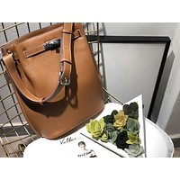 HERMES WOMEN'S LEATHER BUCKET HANDBAG INCLINED SHOULDER BAG