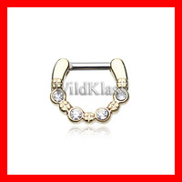 Gold Septum Clicker Elan Multi Gem 16g 14g Septum Ring Cartilage Earrings Nipple Ring Circular Barbell Tragus Jewelry Helix Conch