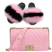 Fur Slides Matching Purse Set