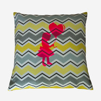 Yellow and grey pillow cover, 18x18 inches. Design pillow cover with a girl and balloon silhouette. Grey and yellow nursery pillow cover.
