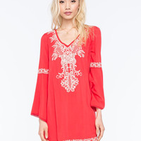 Flying Tomato Embroidered Bell Swing Dress Coral  In Sizes