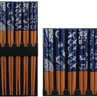 Five Pairs of Asian Blue and White Wooden Chopsticks
