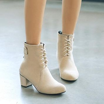 Faux Suede Lace Up Chunky Heel Ankle Boots 7033
