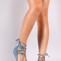 Liliana Denim Caged Cuff Pointy Lace Up Flats