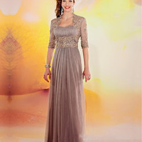 Elegant Champagne Mother of The Bride Dresses With Jacket Women Evening Party Mother Groom Formal Gowns For Wedding 03201