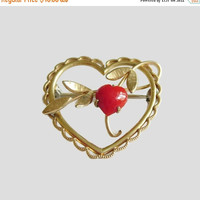 ON SALE Vintage Krementz Heart Pin, Red Coral & Gold Overlay Setting with Twining Vines, Romantic Brooch, Lovely! CIJ