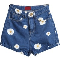 Navy Daisy Print Denim Shorts